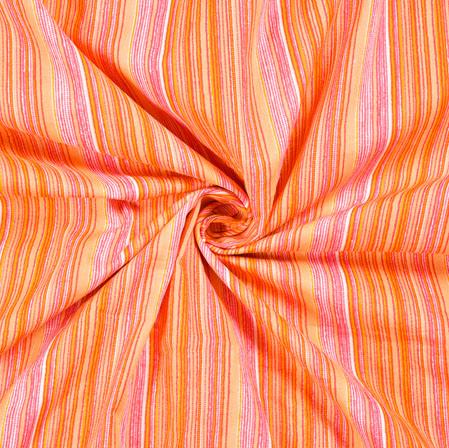 Pink Peach Stripe Print Cotton Fabric-28541