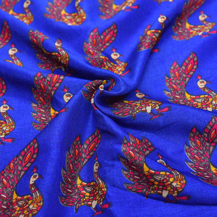 Pink Peacock Design On Blue Kalamkari Manipuri Silk-16122