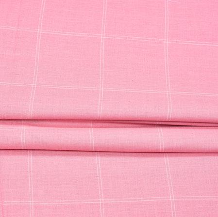Pink Pink Checks Handloom Fabric-42014