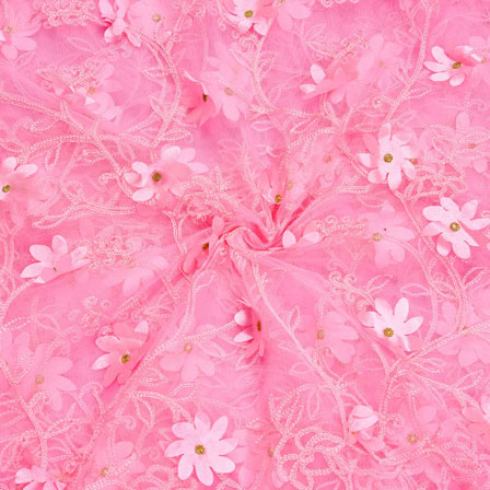 Pink Pink Net Butterfly Embroidery Fabric-18799