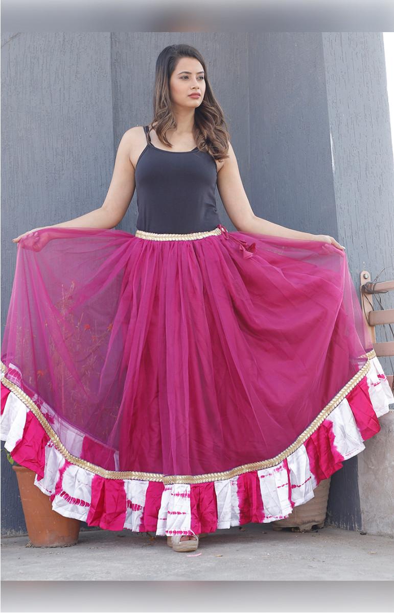 Pink Plain Net Lehenga-34232-(Free Size)
