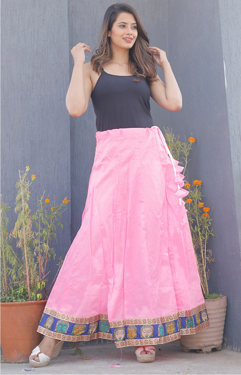 Pink Plain Taffeta Silk Lehenga-34227-(Free Size)
