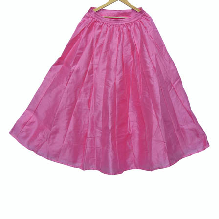 Pink Pleats Pattern Duping Silk Skirt-23021