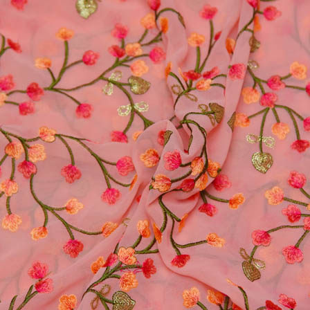 Pink Poly Georgette Base Fabric With Green Floral Embroidery-60030