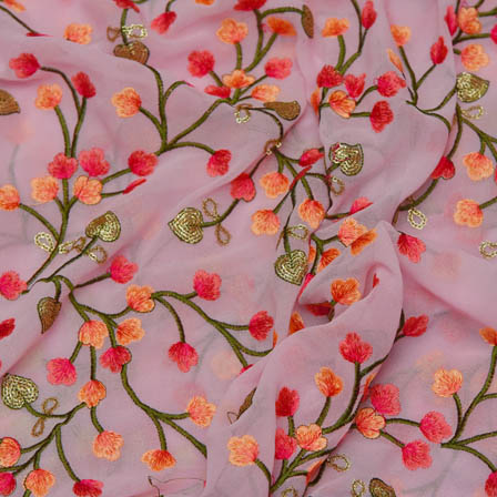 Pink Poly Georgette Base Fabric With Green Leaf Embroidery-60035