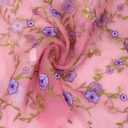 Pink-Purple and Green Flower Organza Embroidery Fabric-51408