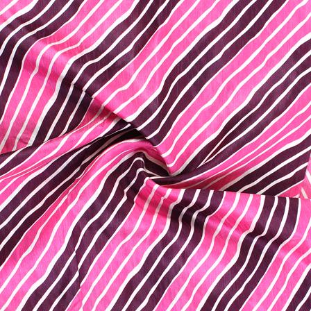 Pink-Purple and White Lehariya Design Kota Doria Fabric-25071