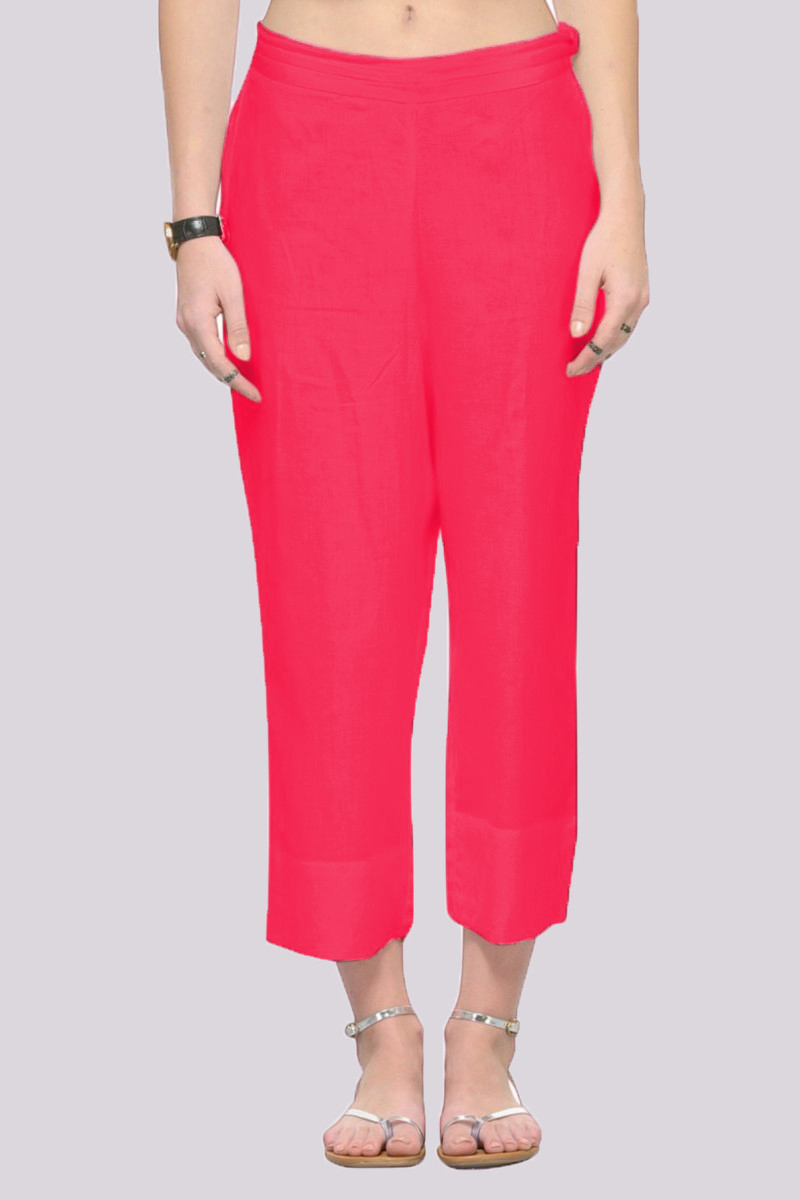 Pink Rayon Ankle Length Pant-33694