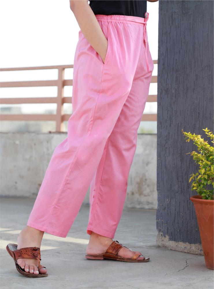 Pink Rayon Women Pant-33238