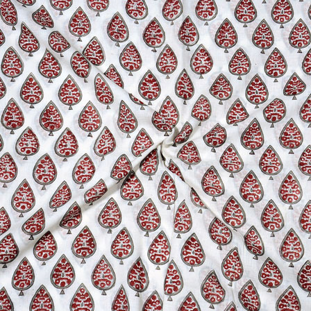 Pink Red Block Print Cotton Fabric-14728