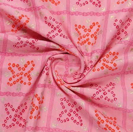 Pink Red Block Print Cotton Fabric-16127