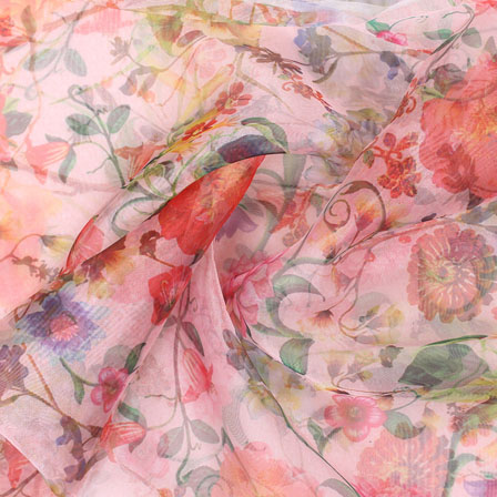 Pink Red Digital Organza Silk Fabric-51565