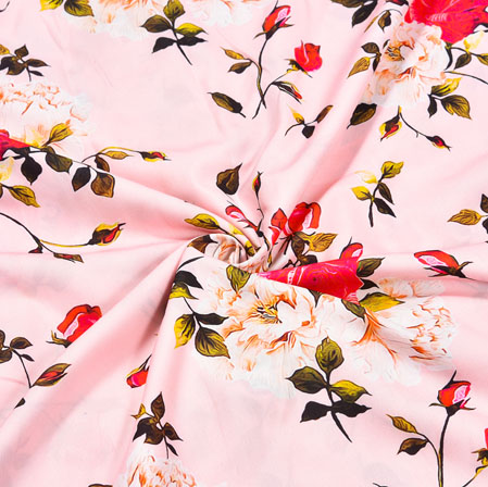 Pink Red Floral Crepe Silk Fabric-41048
