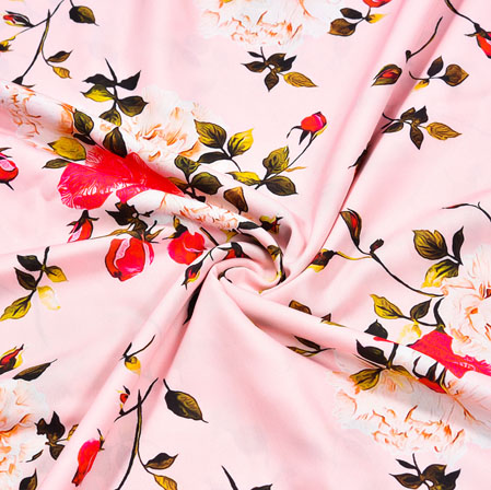 Pink Red Floral Crepe Silk Fabric-41086