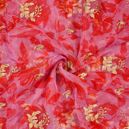 Pink Red Floral Organza Digital Embroidery Silk Fabric-22132