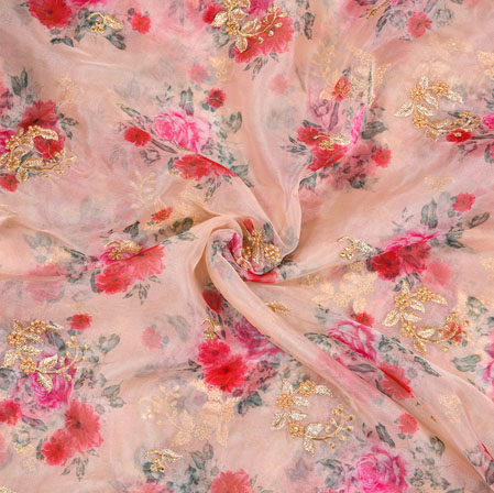 Pink Red Floral Organza Digital Embroidery Silk Fabric-22146