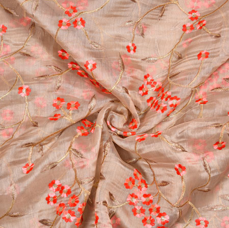 Pink Red Flower Organza Embroidery Fabric-22252