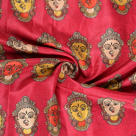 Pink-Red and Cream Durga Devi Face Kalamkari Manipuri Silk Fabric-16288
