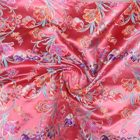 Pink Red and Cyan Floral Digital Banarasi Silk Fabric-9192