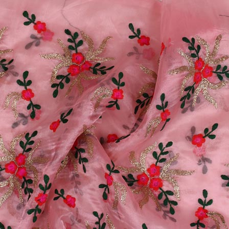 Pink Red and Golden Embroidery Organza Silk Fabric-51644