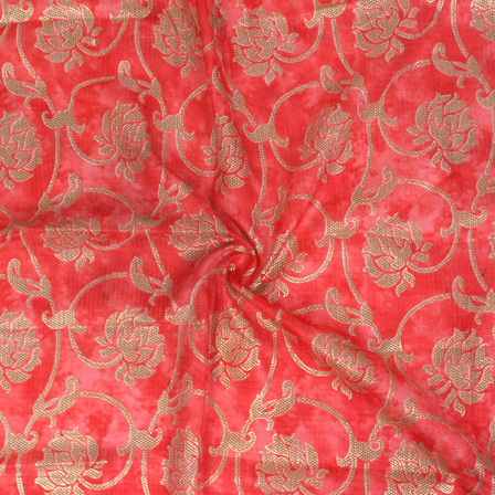 Pink Red and Golden Floral Pattern Kota Doria Fabric-25035