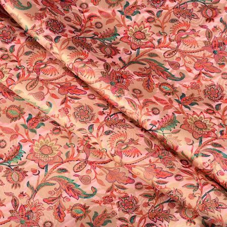 Pink-Red and Golden Flower Digital Brocade Fabric-24111