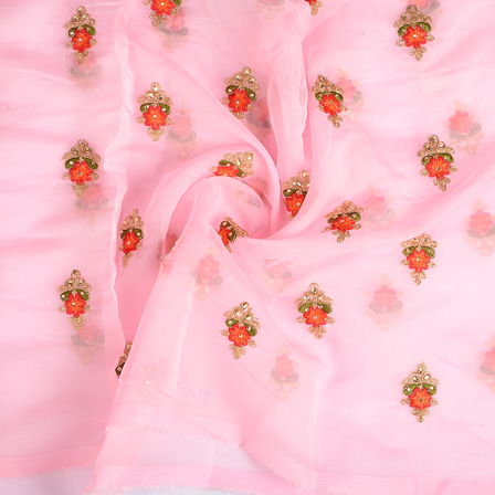 Pink-Red and Golden Flower Organza Embroidery Fabric-51170