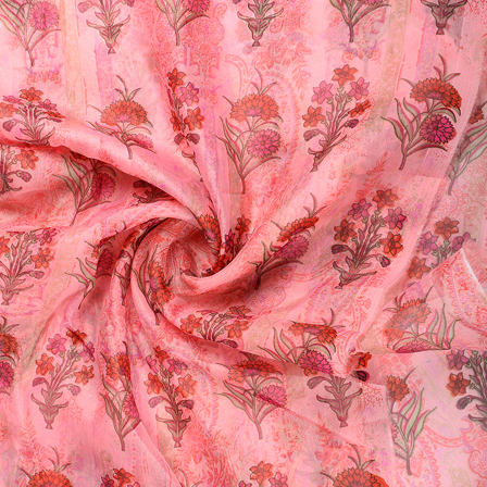 Pink-Red and Golden Flower Organza Foil Print Fabric-51299