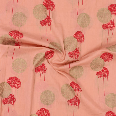 Pink Red and Golden Foil Print Cotton Fabric-15128