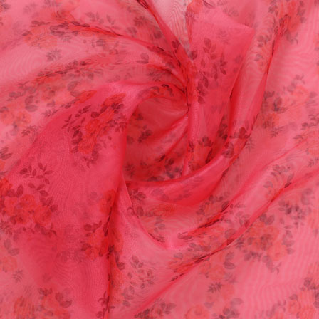 Pink Red and Green Digital Organza Silk Fabric-51589