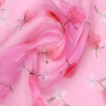 Pink Red and Green Digital Organza Silk Fabric-51594