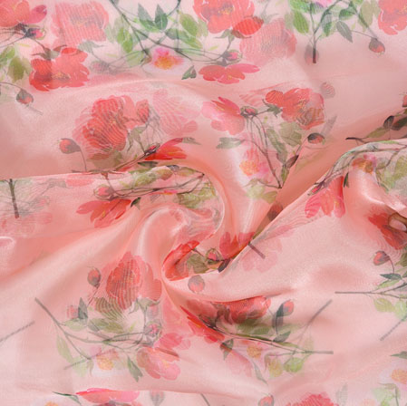 Pink Red and Green Floral Organza Silk Fabric-22106