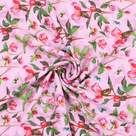 Pink Red and Green Flower Rayon Fabric-15083