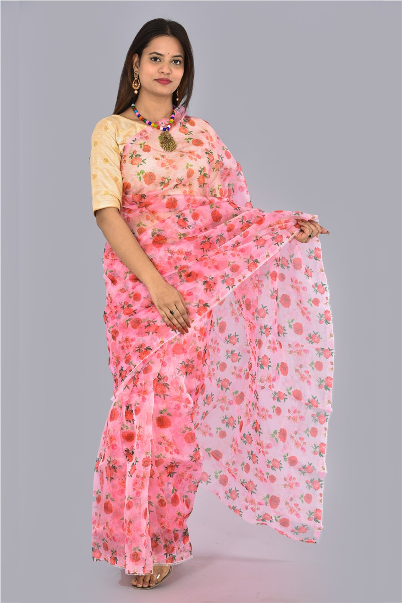 Pink Red and Green Organza Digital Printed Saree-36198