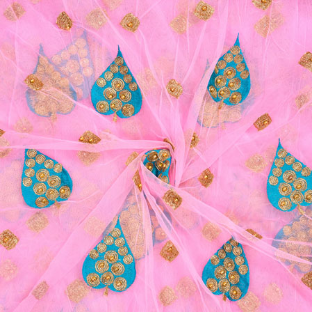 Pink SeaGreen Floral Net Embroidery Fabric-19110