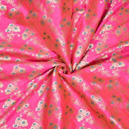 Pink Silver Floral Banarasi Brocade SIlk Fabric-12759