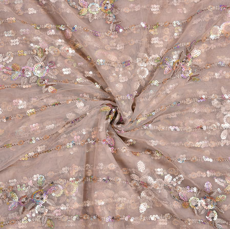 Pink Silver Floral Net Embroidery Fabric-19081