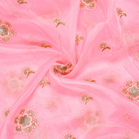 Pink Silver Floral Organza Embroidery Fabric-22156