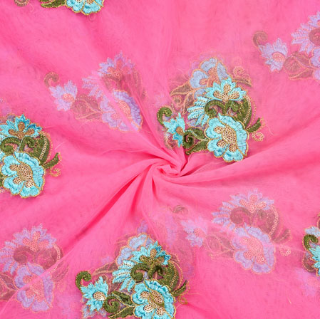 Pink Sky Blue and Green Embroidery Silk Net Fabric-18648