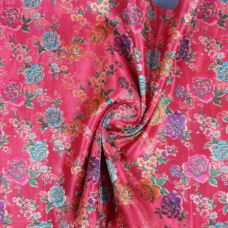 Pink Sky Blue and Orange Floral Digital Banarasi Silk Fabric-9190