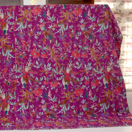 Pink-Sky Blue and Purple Handmade Flower Pattern Kantha Quilt-4339