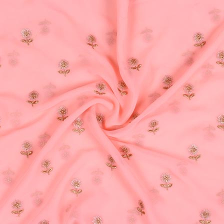 Pink Sliver Flower Fox Georgette Embroidery Fabric-15286