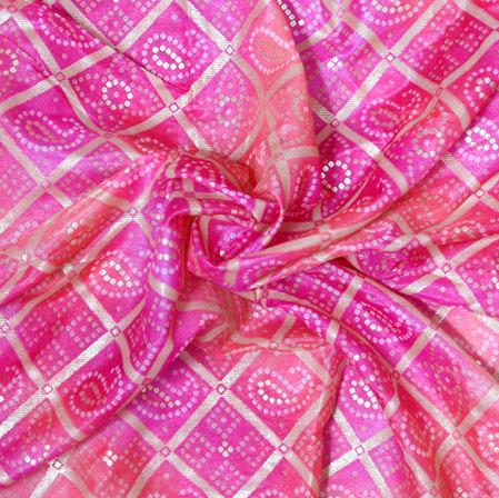 Pink White Bandhej Organza Digital Silk Fabric-22434