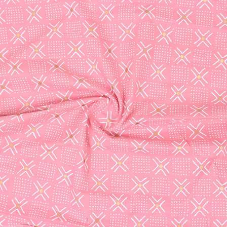 Pink White Block Print Cotton Fabric-14859