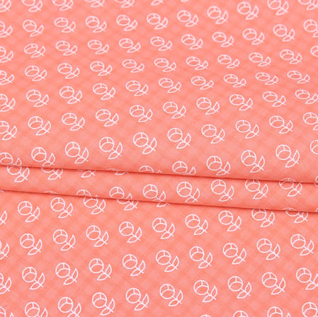Pink White Block Print Cotton Fabric-14941