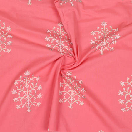 Pink White Block Print Cotton Fabric-14943