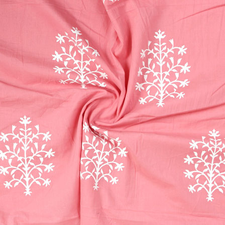 Pink White Block Print Rayon Fabric-14830