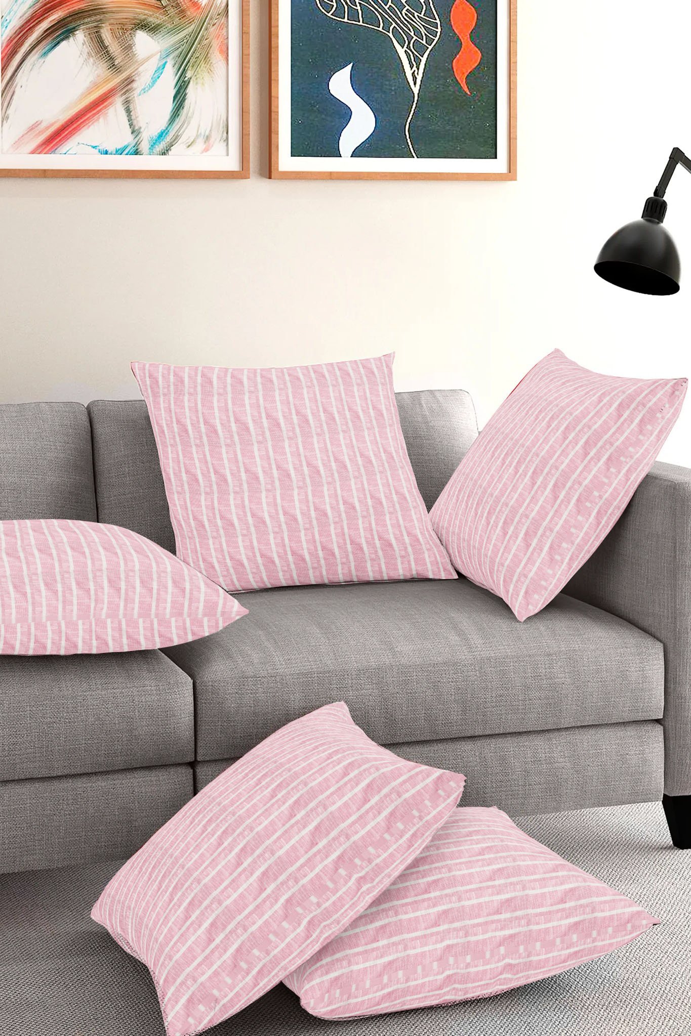 Set of 5-Pink White Cotton Cushion Cover-35383-16x16 Inches