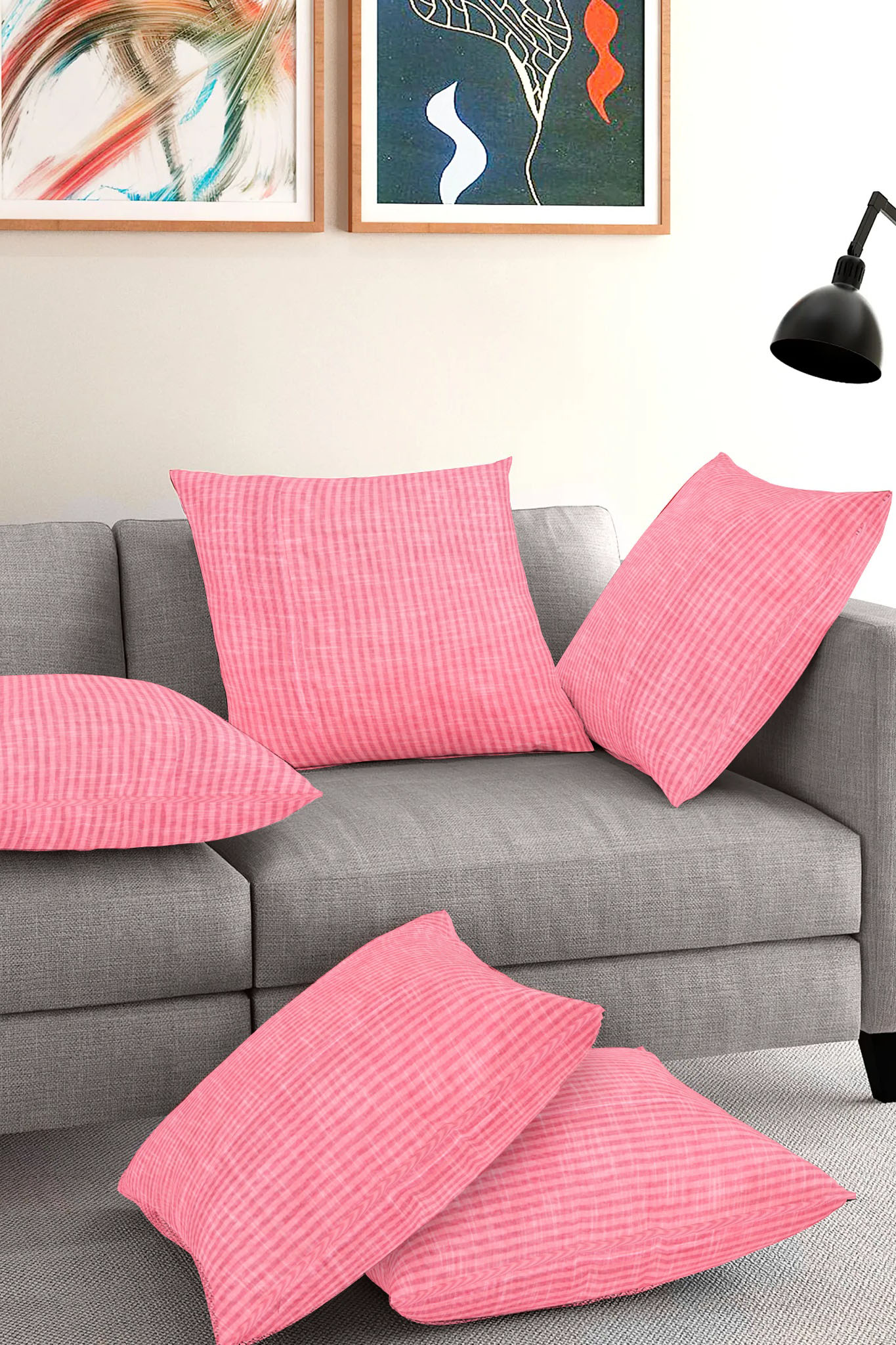 Set of 5-Pink White Cotton Cushion Cover-35399-16x16 Inches