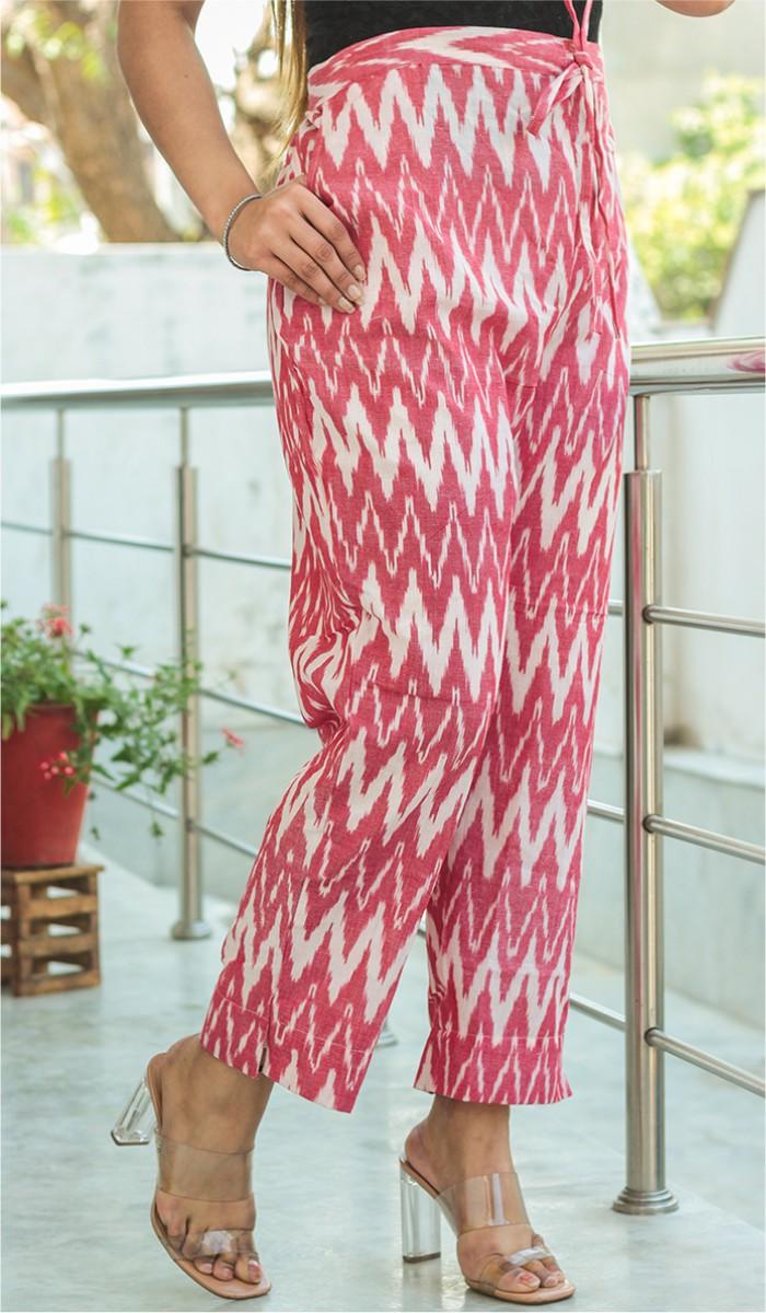 Pink White Cotton Ikat Ankle Women Pant-34659